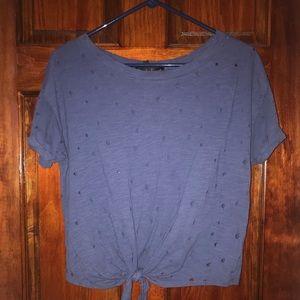 Blue trendy ripped holes shirt